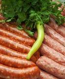 Carne fresca y salchicha Fotos de archivo