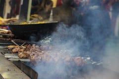 Carne frita Bbq Alimento justo fotos de archivo