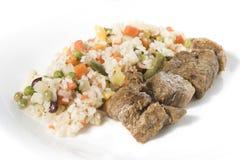 Carne fritada com vegetais e Imagem de Stock