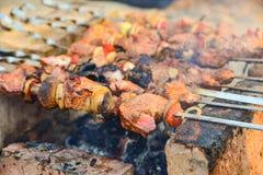 A carne fritada e suculenta com cogumelos é fritada nos espetos em um fogo, espetos em tijolos, sob eles carvões de madeira de qu fotografia de stock royalty free