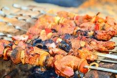 A carne fritada e suculenta com cogumelos é fritada nos espetos em um fogo, espetos em tijolos, sob eles carvões de madeira de qu imagem de stock royalty free