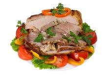 Carne fritta con le verdure Fotografie Stock