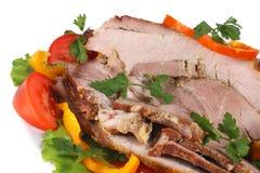 Carne fritta con le verdure Fotografie Stock Libere da Diritti