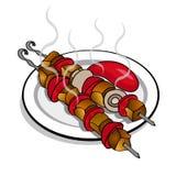 Carne fritta deliziosa sugli spiedi con il fungo prataiolo dei pomodori del ketchup royalty illustrazione gratis