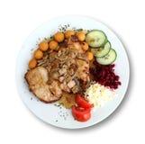 Carne fritta sotto i campioni isolati su bianco Fotografia Stock