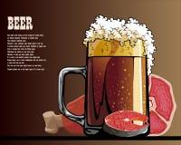 Carne, frutti di mare e birra sulla tavola Fotografie Stock