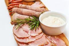 Carne fumada caseiro Fotografia de Stock