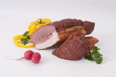 Carne fumado e vegetais Imagens de Stock Royalty Free