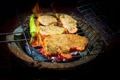 Carne grelhada com pimenta verde os carvões fotografia de stock royalty free