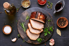 Carne grelhada cortada do assado da carne de porco fotografia de stock royalty free