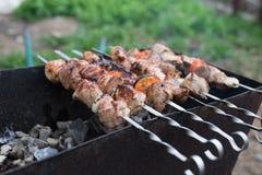 A carne grelhada cozinhou em uma grade com vegetais imagem de stock royalty free