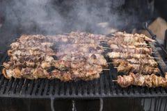 Carne grelhada deliciosa sortido sobre os carvões no assado imagens de stock