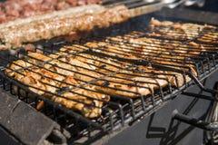 Carne grelhada deliciosa sortido sobre os carvões no assado foto de stock