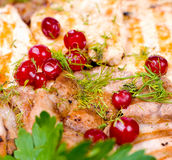 Carne grelhada, macro Fotos de Stock