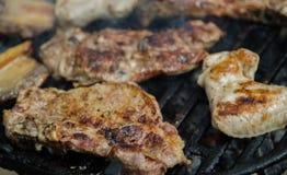 Carne grelhada no BBQ Fotos de Stock