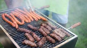 Carne grelhada sortido deliciosa com os vegetais sobre os carvões no assado fotos de stock