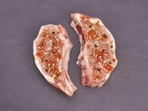 Carne grezza e spezia Immagini Stock Libere da Diritti