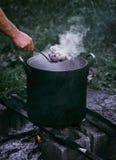 Carne hervida caliente Foto de archivo