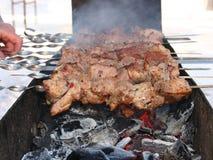 Carne jugosa de la carne asada en los carbones Imagen de archivo libre de regalías