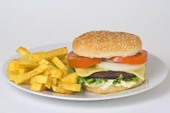Carne jugosa de la hamburguesa Imagen de archivo libre de regalías
