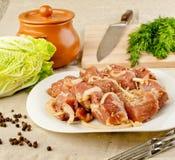 Carne in marinata Fotografia Stock Libera da Diritti