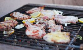 Carne na grade Fotografia de Stock