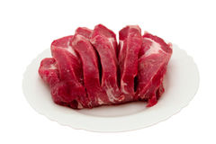 Carne na placa branca. Foto de Stock Royalty Free