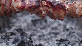Carne no assado dos espetos no fim exterior da grade acima do shashlik Gotas gordas da carne filme