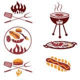 carne, perrito caliente y hamburguesa Fotografía de archivo libre de regalías