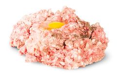 Carne picada cruda con el huevo y la pimienta negra Imagen de archivo
