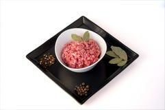 Carne picadita con la especia Fotografía de archivo libre de regalías
