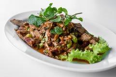 Carne picadita con vegetal y picante, comida de Tailandia Imagenes de archivo
