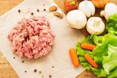 Carne picadita cruda fresca con las verduras Fotos de archivo libres de regalías
