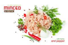 Carne picadita del pollo en un fondo blanco Imagenes de archivo