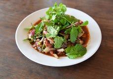 Carne piccante dell'insalata cruda Fotografie Stock