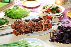 Carne, pomodoro e cipolla fritti Fotografia Stock Libera da Diritti