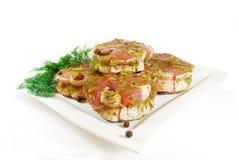 Carne posta de conserva com cebola, especiarias e aneto Imagens de Stock Royalty Free