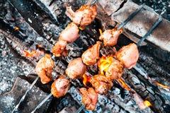 Carne que cozinha nos carvões fotografia de stock royalty free