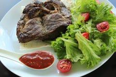 Carne Roasted com verdes, molho vermelho e pão árabe na placa branca Imagens de Stock