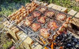Carne roasted em carvões foto de stock