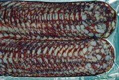 Carne rotonda tagliata da salame in pacchetto Fotografie Stock Libere da Diritti