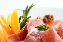 Carne saboroso no fundo branco Fotos de Stock