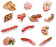 Carne, salami y colección de Saulsage Imagenes de archivo