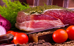 Carne salgada na placa Foto de Stock Royalty Free