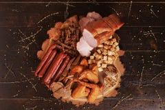 carne, salsichas e biscoitos smocked Fotos de Stock Royalty Free
