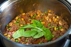 Carne saudável que cozinha em um potenciômetro com vegetais Imagem de Stock