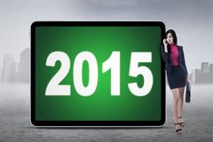 Carne sem gordura do empregado a bordo com números 2015 Imagem de Stock Royalty Free