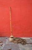 Carne sem gordura do espanador contra a parede vermelha Foto de Stock