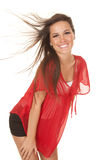 Carne sem gordura do sopro do cabelo da parte superior vermelha da mulher foto de stock royalty free