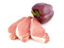 Carne sin procesar con la alarma de la pimienta Foto de archivo